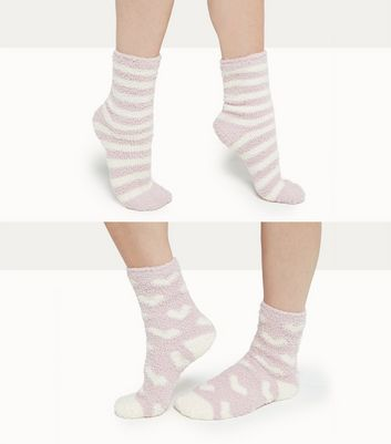 2 Pack Pink Heart and Stripe Pattern Socks