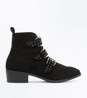 Black Suedette Stud Buckle Ankle Boots