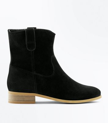 Black Suede Western Chelsea Ankle Boots