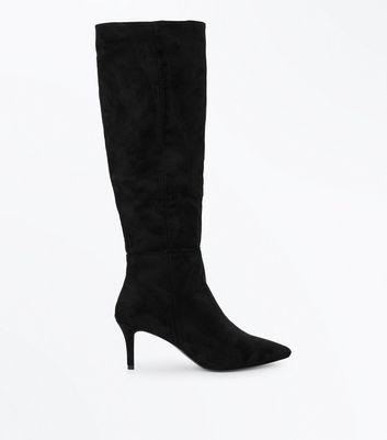 Black Suedette Knee High Kitten Heel Boots | New Look