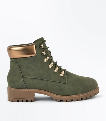 Khaki Metallic Trim Lace Up Boots