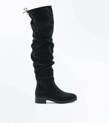 Black Suedette Over The Knee Slouch Boots