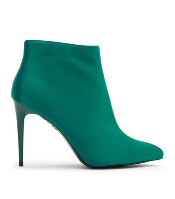 Green Satin Stiletto Heel Pointed Boots