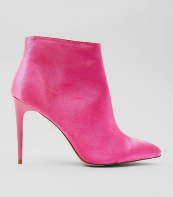Pink Satin Stiletto Heel Pointed Boots