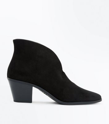 Black Suedette V Front Pointed Ankle Boots
