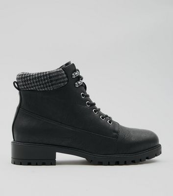 Black Dogstooth Lace Up Ankle Boots