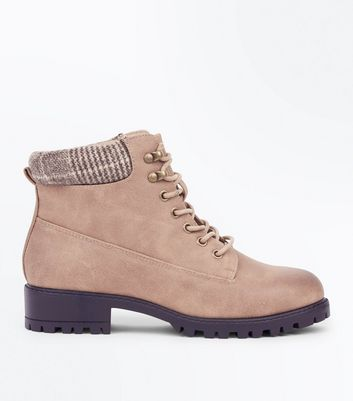 Light Brown Check Cuff Lace Up Hiker Boots