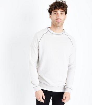 Pale Grey Contrast Seam Crew Neck Sweater