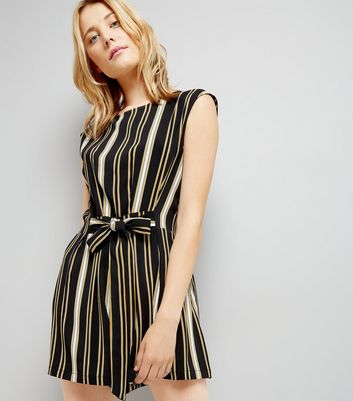 Black Stripe Tie Waist Playsuit