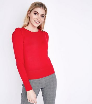 Red Puff Sleeve Fine Knit Jumper
