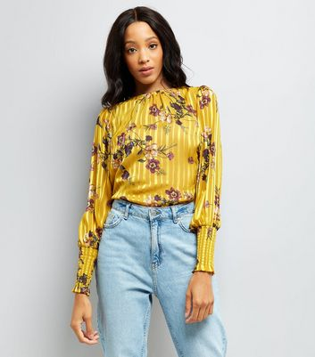 Yellow Floral Stripe Balloon Sleeve Blouse