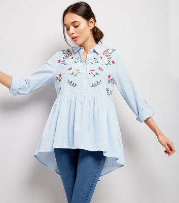 Blue Embroidered Dip Hem Smock Shirt