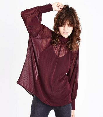 Burgundy Flocked Spot High Neck Blouse