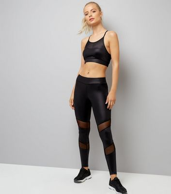 Black Wet Look Mesh Panel Sports Leggings