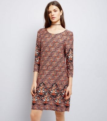 Apricot Brown Abstract Print Swing Dress