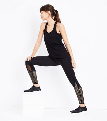 Black Fishnet Panel Sports Leggings