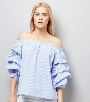Blue Stripe Ruched Sleeve Bardot Neck Top