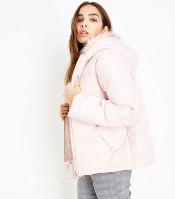 Pink Vanilla Pink Faux Fur Trim Hooded Coat