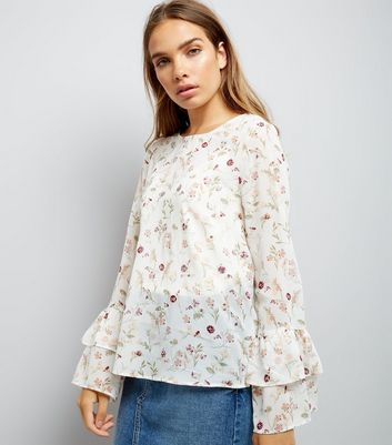 White Floral Print Frill Flute Sleeve Blouse
