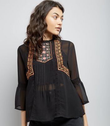 Black Sheer Embroidered Flare Sleeve Top