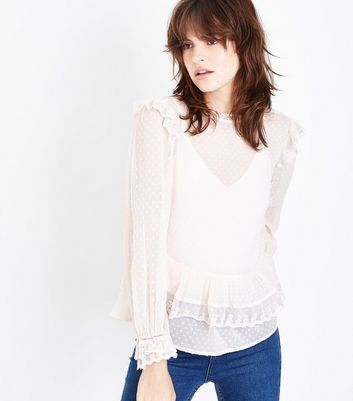 Shell Pink Spot Mesh Lace Frill Trim Blouse