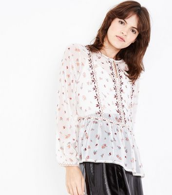 White Floral Print Embroidered Peplum Hem Blouse