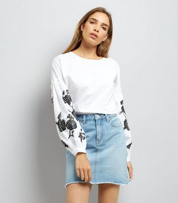 White Floral Embroidered Balloon Sleeve Top