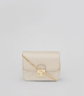 Gold Glitter Panel Mini Cross Body Bag