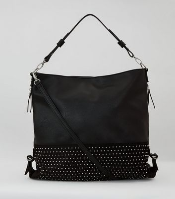 Black Studded Slouchy Shoulder Bag