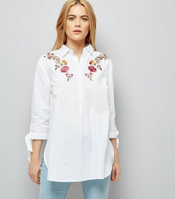 White Floral Embroidered Tie Sleeve Shirt