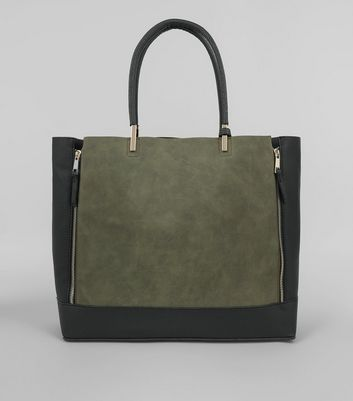 Khaki Zip Side Tote Bag