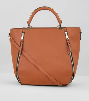Tan Zip Side Metal Handle Tote Bag