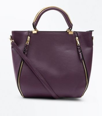 Purple Zip Side Metal Handle Tote Bag
