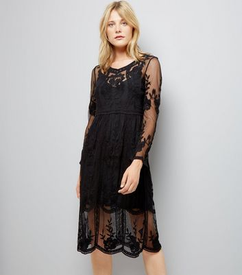 Black Crochet Lace Midi Skater Dress