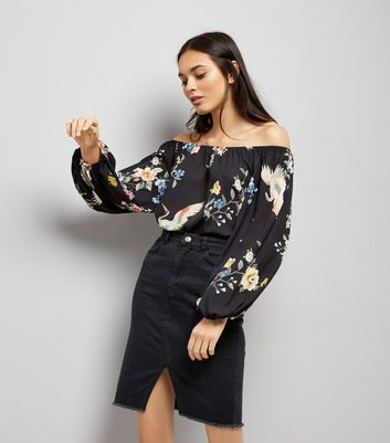 Black Floral Print Bardot Neck Loose Bodysuit
