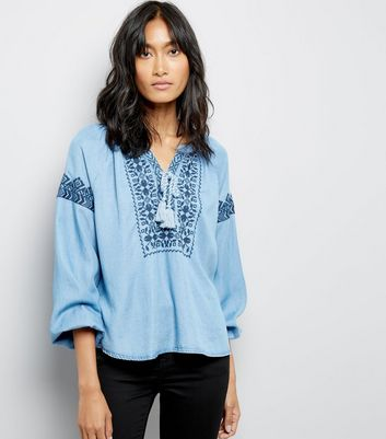 Blue Embroidered Tie Neck Smock Top