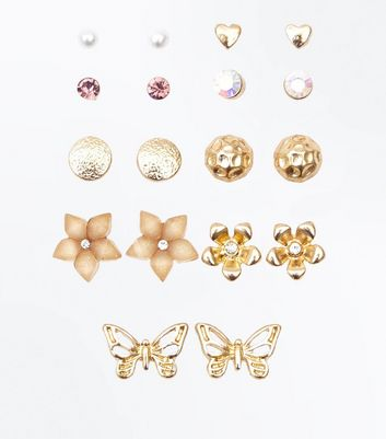 9 Pack Gold Mix Stud Earrings