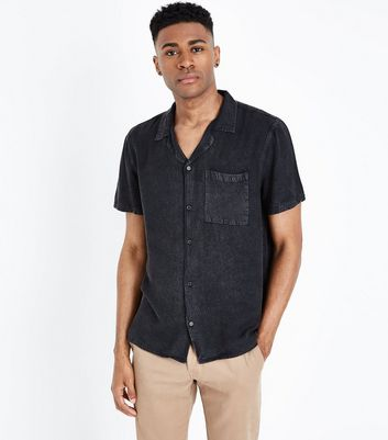 Black Denim Acid Wash Revere Collar Shirt