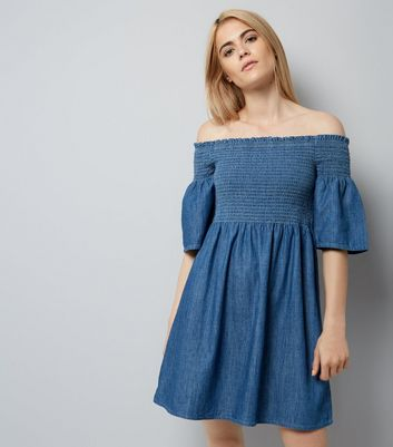 Blue Denim Shirred Bardot Neck Dress