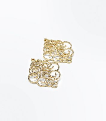 Gold Diamante Embellished Filigree Earrings