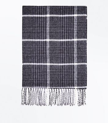 Black Houndstooth Check Scarf