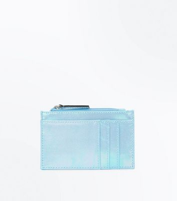 Pale Blue Iridescent Zip Top Cardholder
