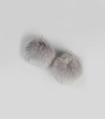 Grey Faux Fur Pom Earrings