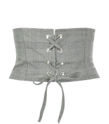 Black Check Corset Belt
