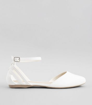 Wide Fit White Ankle Strap Pumps