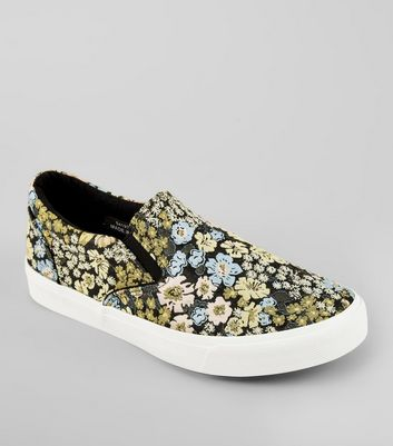 Black Floral Brocade Slip On Plimsolls