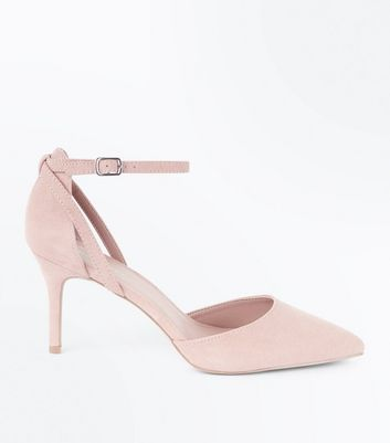 Nude Suedette Cross Over Ankle Strap Courts