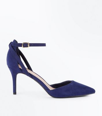 Navy Suedette Cross Over Ankle Strap Courts