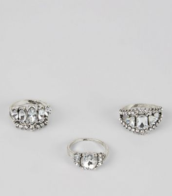 3 Pack Silver Gem Stone Statement Rings
