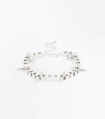 Silver Gem Embellished Spike Chain Bracelet